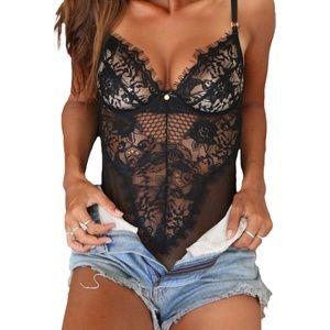 Intimates & Sleepwear - Black Lace Floral Body Suit